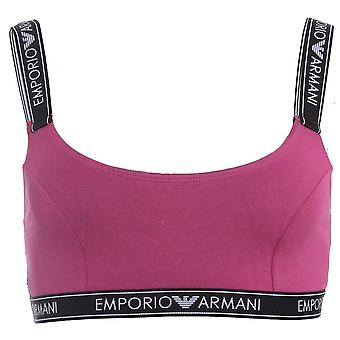 Emporio Armani Women Iconic Logo Band Stretch Cotton Bralette, Purple With Black, Large
