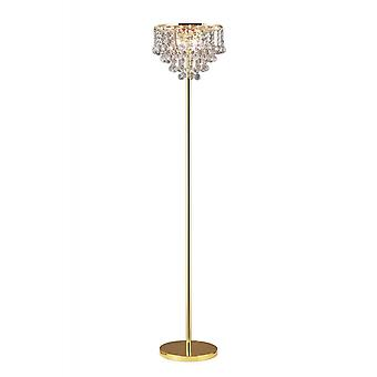 Diyas Atla vloer lamp 4 licht Frans goud/kristal