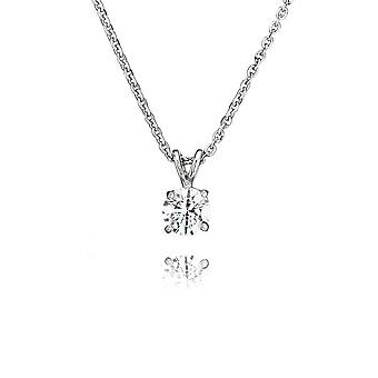 Swarovski Zirconia par Perfection Sterling Silver Swarovski Zirconia Solitaire Large Four Claw Penpendant And Chain