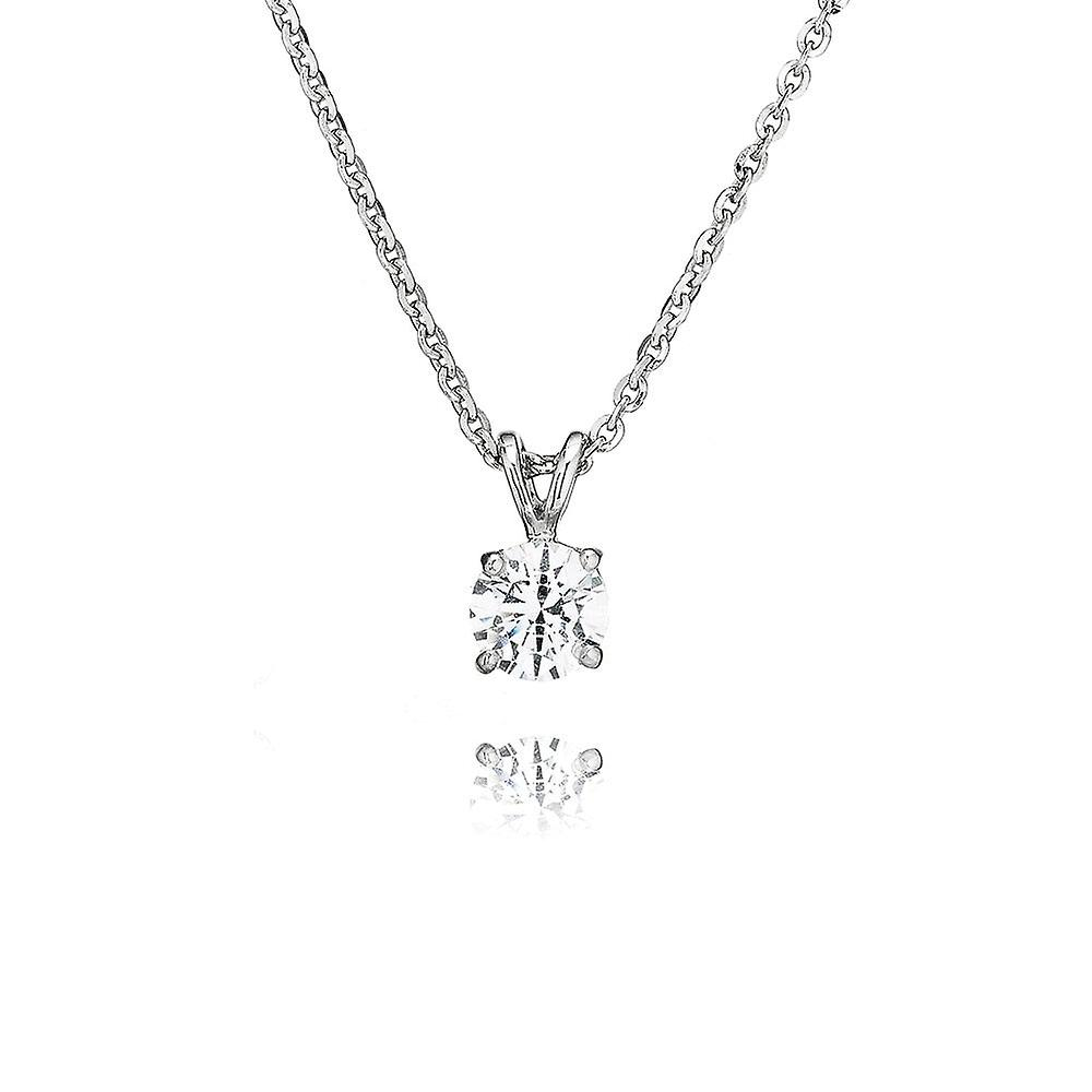 Swarovski  Zirconia by Perfection Sterling Silver Swarovski  Zirconia Solitaire Large Four Claw Pendant And Chain