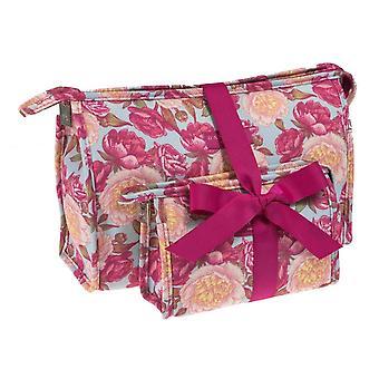 Danielle Peony Floral makijaż kosmetyki torba Case Twin Pack duże & małe