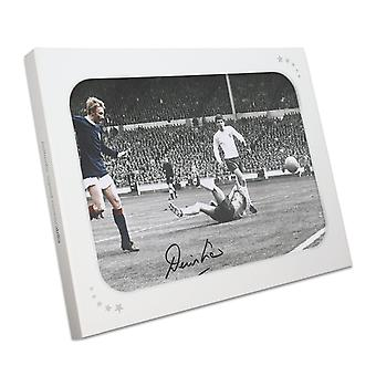 Denis Law Signed Scotland Photo: Goal Against England. In Gift Box