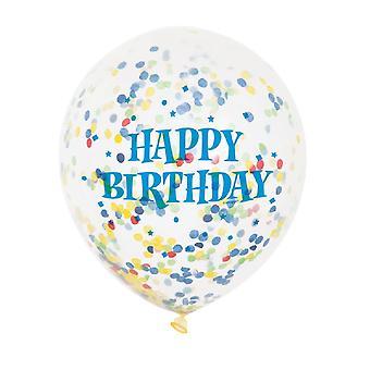 Unika partiet 6 tydliga 12 tums födelsedag Bright blandade konfetti ballonger