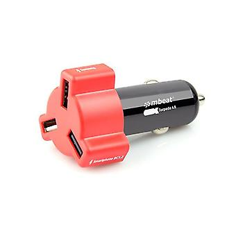 mbeat 24W Triple Port Rapid Red Car Charger