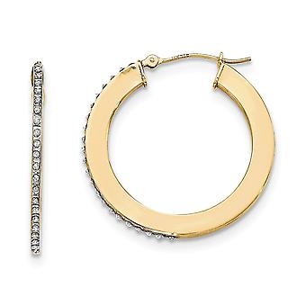 14k Yellow Gold Diamond Fascination Flat Round Hoop Earrings Jewelry Gifts for Women - .010 dwt