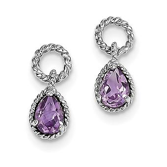 925 Sterling Silver Dangle Polished Post Earrings Rhodium plated Amethyst Pear Twisted Earrings Jewelry Gifts for Women