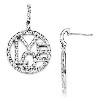 925 Sterling Silver Pave Rhodium plated and CZ Cubic Zirconia Simulated Diamond Round Love Dangle Post Earrings Jewelry