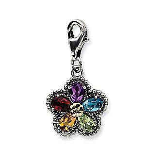925 Sterling Silver Multi colored Fancy Lobster Closure 14k Yellow 3 d Antiqued Gemstone Flower W Lobster Clasp Charm  M