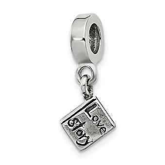 925 Sterling Silber poliert Finish Reflexionen Liebe Geschichte Buch baumeln Perle Charme Anhänger Halskette Schmuck Geschenke für Wom