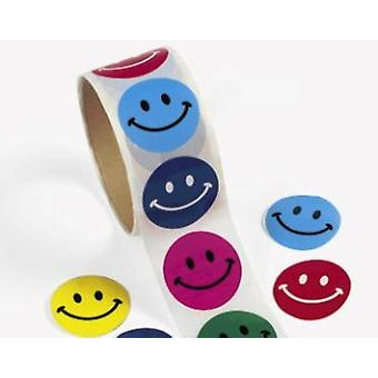 Roll of 100 Smiling Face Stickers for Kids Crafts | Childrens Craft Stickers