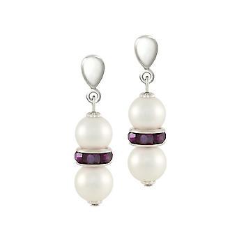 Eternal Collection Kaleidoscope Amethyst Crystal Shell Pearl Silver Tone Drop Clip On Earrings