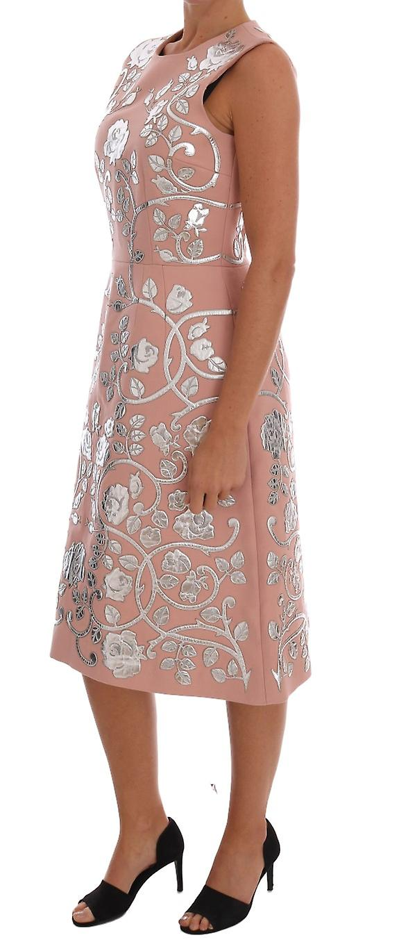 Pink Wool Silver Floral Leather Dress