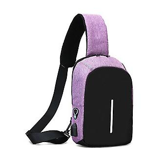 Anti theft mini backpack oxford USB port travel bag purple