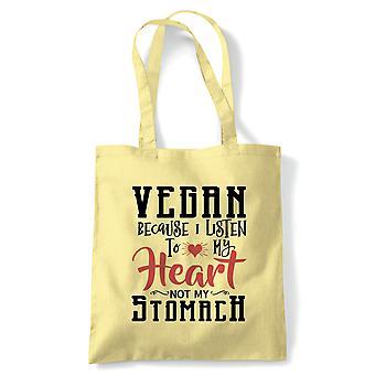 Vegan Lytt til ditt hjerte tote | Vegan livsstil lagre dyr ikke kjøtt meieri gratis | Gjenbrukbare shopping Cotton Canvas Long håndtert Natural shopper miljøvennlig mote
