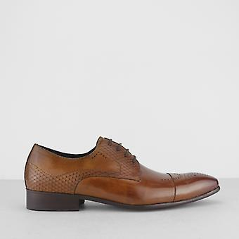 Blakeseys Wyvern Mens Leather Reptile Effect Lace Up Brogue Shoes Tan