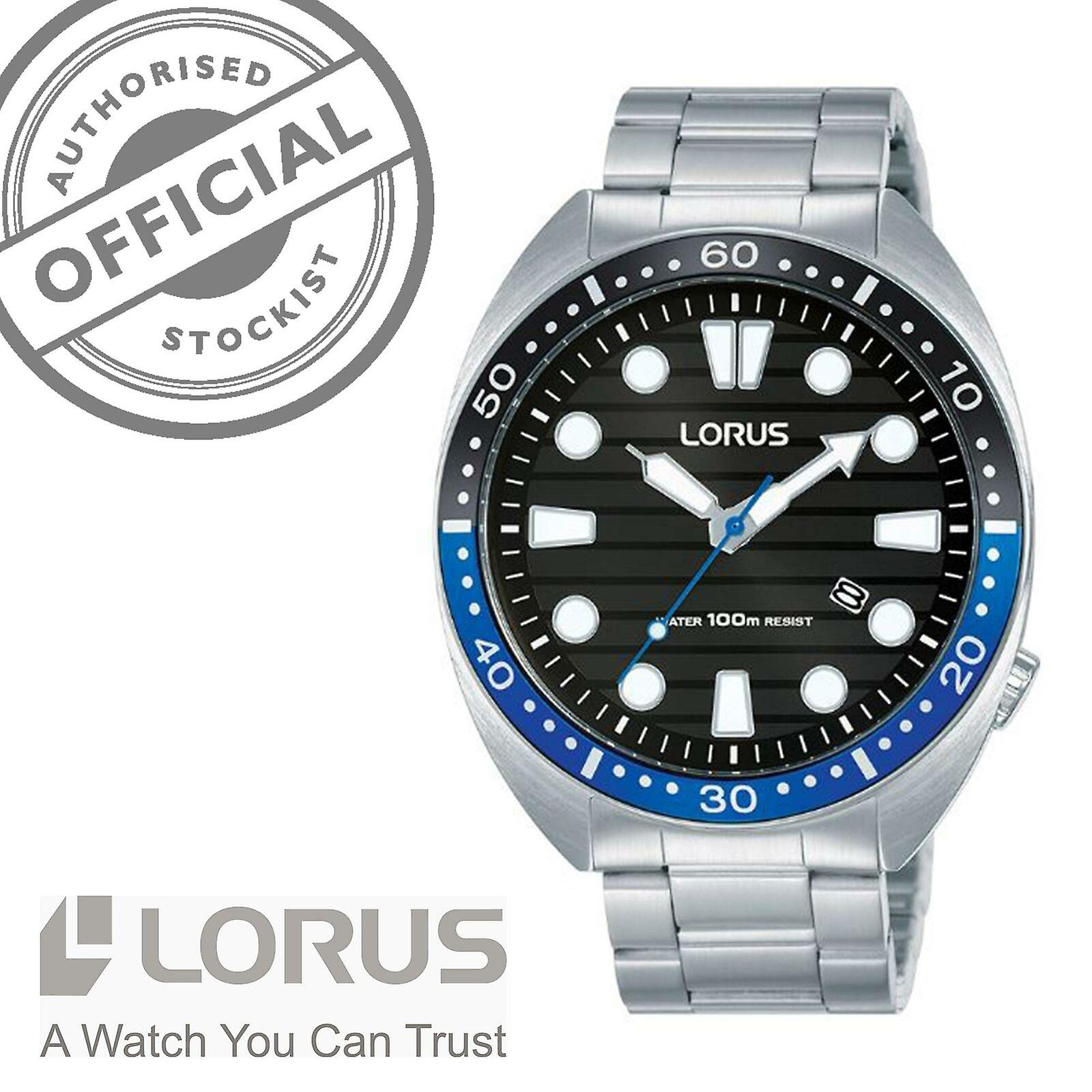 Lorus Sports Quartz Black Dial Silver Stainless Steel Men's Watch RH921LX9