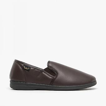Dr Keller Christof Mens Faux Leather Wide Fit Full Slippers Brown
