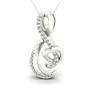IGI Certified S925 Silver 0.08Ct TW Diamond Open Infinity Heart Necklace