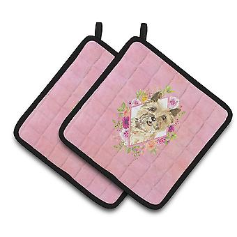 Carolines Treasures  CK4250PTHD Cairn Terrier Pink Flowers Pair of Pot Holders