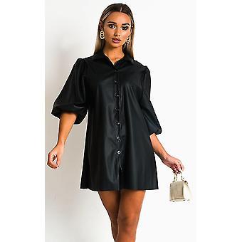IKRUSH Womens Sylvia Faux vestido de camisa de couro