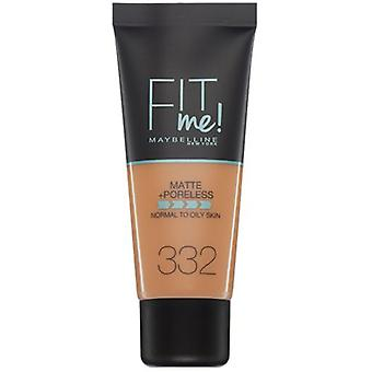 Maybelline Fit Me Matte makeup foundation poreless 332 Golden Caramel