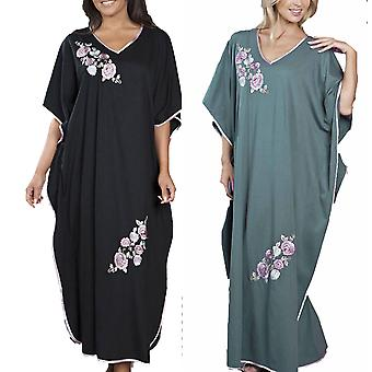 2 Pack Ladies Embroidered Satin Trim Floral Long Kaftan Sleepwear One Size