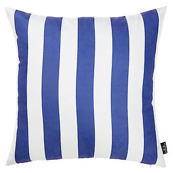 """18""""x18"""" Blue Nautica Stripe Decorative Throw Pillow Cover"""