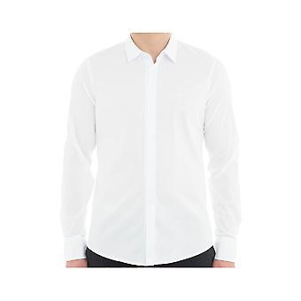 Emporio Armani Cotton Taped Placket Long Sleeve White Shirt
