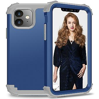 Voor iPhone 11 PC+ Siliconen Driedelige Anti-dropback Cover Blue