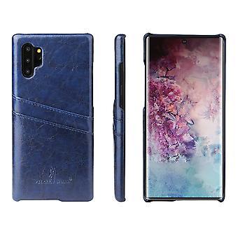 Für Samsung Galaxy Note 10 + Plus Fall blau Deluxe PU Leder zurück Shell Cover