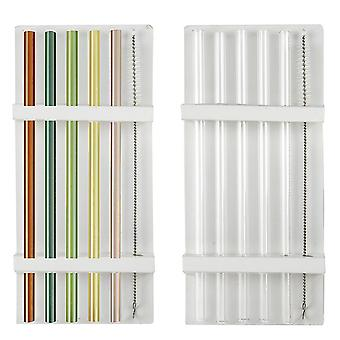 Drinking straws glass 20 cm, COLOR and transparent, set of 12 sets, incl. cleaning brushes, 100% glass, in viewing box.