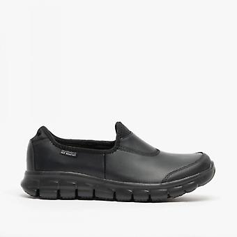 Skechers Work Relaxed Fit - Sure Track Ladies Leather Anti-slip Shoes Black