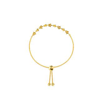 14k Yellow Gold 0.05 Dwt Diamond Alternating Star Station Bolo Barcele Bracelet 9.50 Inch Jewelry Gifts for Women