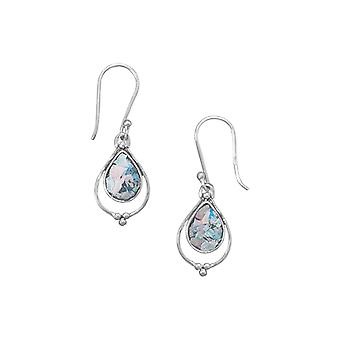 925 Sterling Silver French Wire Earrings With Open Pear Shape Ancient Roman Glass Drop Jewelry Gifts for Women
