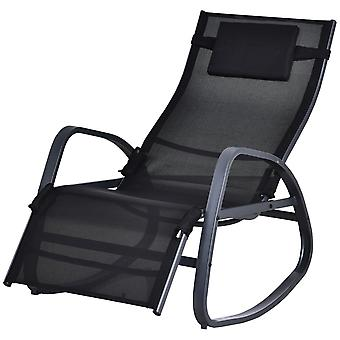 Outsunny Rocking Lounger Chair w/ Adjustable Back Footrest Metal Frame Texteline Seat Removable Pillow Rubber Pads Garden Ergonomic Comfortable Orb Black