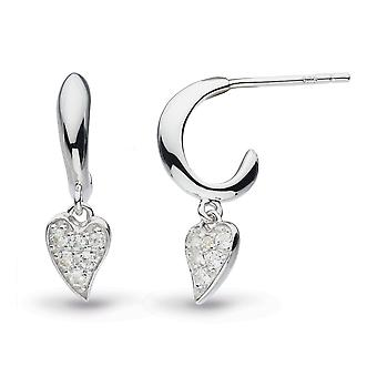 Kit Heath Desire Precious White Topaz Heart Hoop Drop Boucles d'oreilles 50506WT