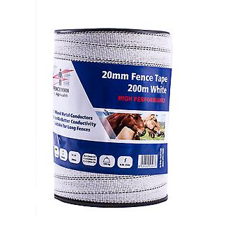 Fenceman High Performance Electric Fence White Tape 20mm X 200m