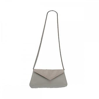 Sabrina Chic Cream Fold Over Clutch With Chain