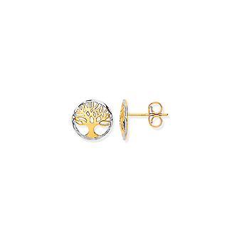 Eternity 9ct Gold 2 Kleur Ronde Tree Of Life Stud Oorbellen