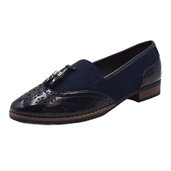 Jana Soft Line 24260 Aylesbury Modern Wide Fit Wingtip Brogue Style Loafer In Navy Patent