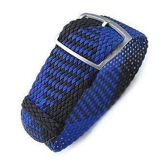 Strapcode حزام ووتش النسيج 20، 22mm miltat perlon حزام ووتش، الأسود والأزرق، وسلم sandblasted قفل قفل مشبك