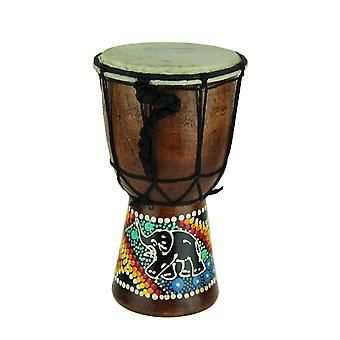 Aboriginal Dot Painted Elephant Djembe Drum 8 Inches Tall 4.5 Inch Diameter
