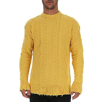 Laneus Mgu735cc14giallo Men's Yellow Wool Sweater