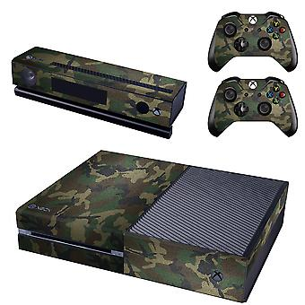 REYTID Console Skin / Sticker + 2 x Controller Decals & Kinect Wrap Compatible with Microsoft Xbox One - Full Set - Army Camo