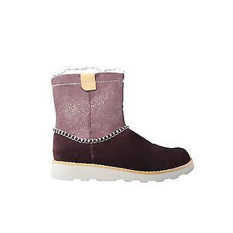 Clarks Crown Piper Junior Burgundy/Pink Suede Leather Girls Warm Winter Boots
