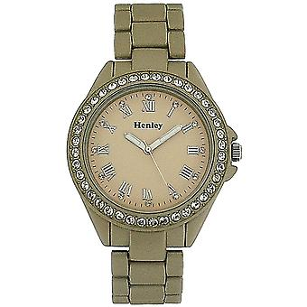 Henley Ladies Diamante Bezel Champagne Dial & Gold Rubberized Strap Watch H0885