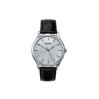 Sekonda Mens Ronde Zilveren Wijzerplaat Black Strap Horloge 3099