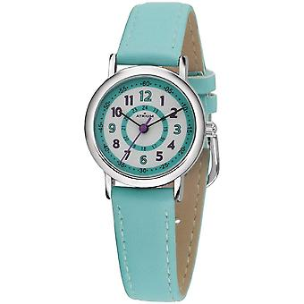 ATRIUM niños reloj de pulsera analógico cuarzo chica falsa cuero A31-106 azul claro