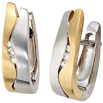 Hoop earrings 585 gold white gold yellow gold bicolor matt 6 diamonds brilliant earrings