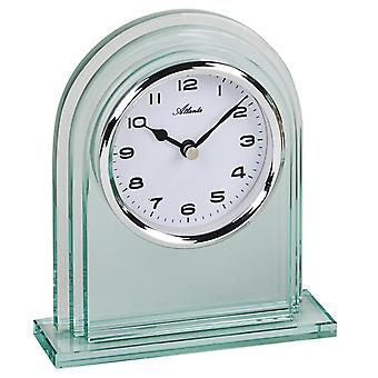 Atlanta 3034/0 Style Clock Table Clock Quartz Silver Glass with Wake-Up Function